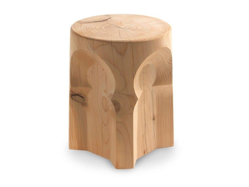 Low cedarwood stool MORESCO by Riva 1920