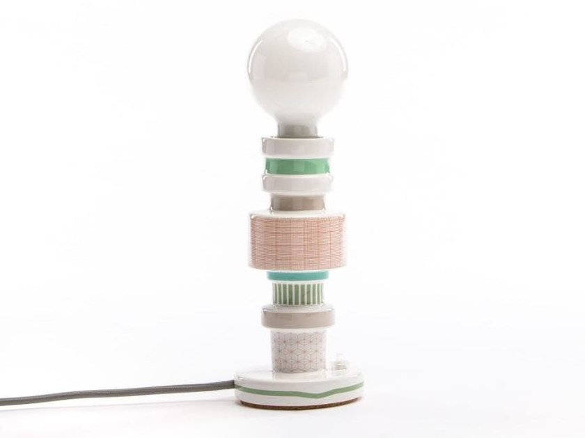 Porcelain table lamp MORESQUE DESIGN #2 – SQUARED | Table lamp by Seletti