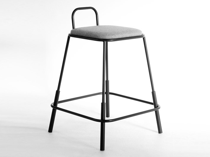 High fabric stool with back with footrest MORF MEDIUM   Stool by Junction Fifteen