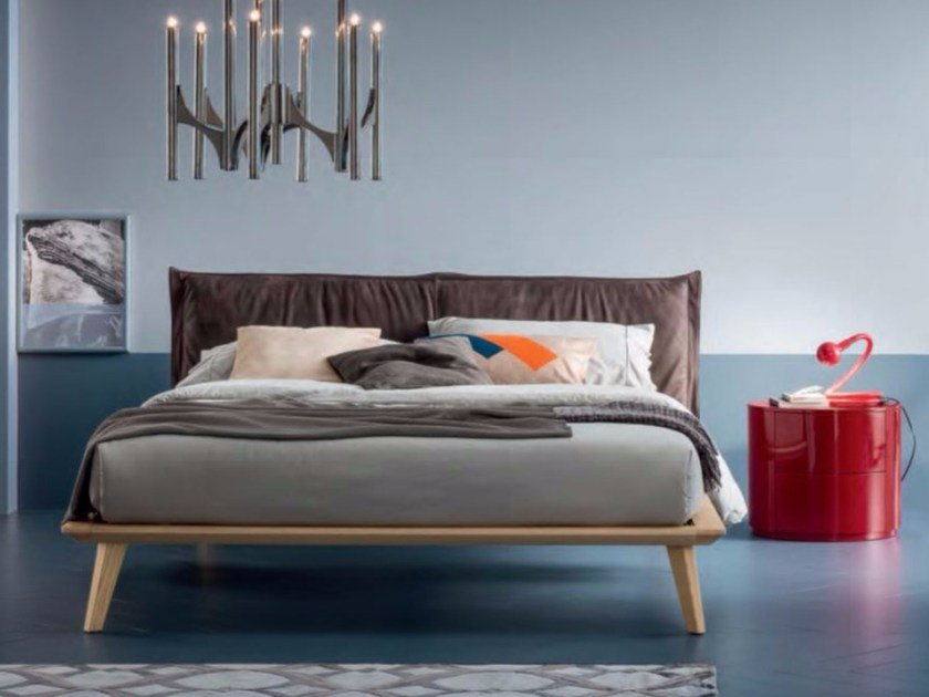 Oak double bed with upholstered headboard MORGAN by Dall'Agnese