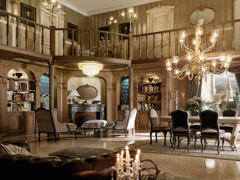 Boiserie in noce con illuminazione integrata MOSCA by Martini Interiors