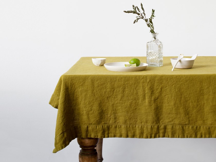 Washed linen tablecloth MOSS GREEN | Tablecloth by Linen Tales