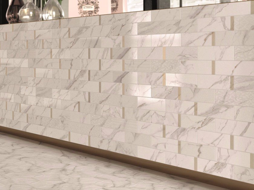 Porcelain stoneware wall/floor tiles with marble effect MOTIF CALACATTA SILVER by Marca Corona