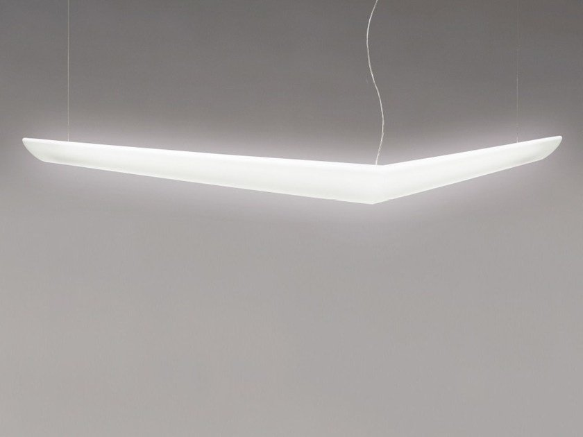 Direct light fluorescent polypropylene pendant lamp MOUETTE ASYMMETRIC by Artemide