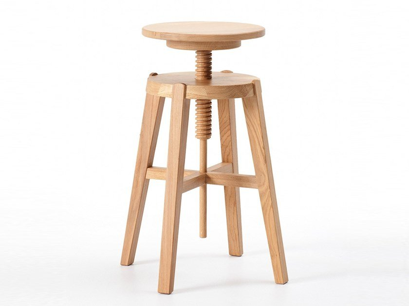 Height-adjustable wooden stool MOVE by AltaCorte