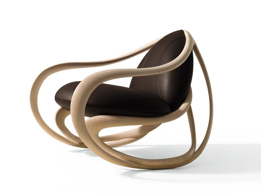 Rocking armchair with armrests MOVE by GIORGETTI