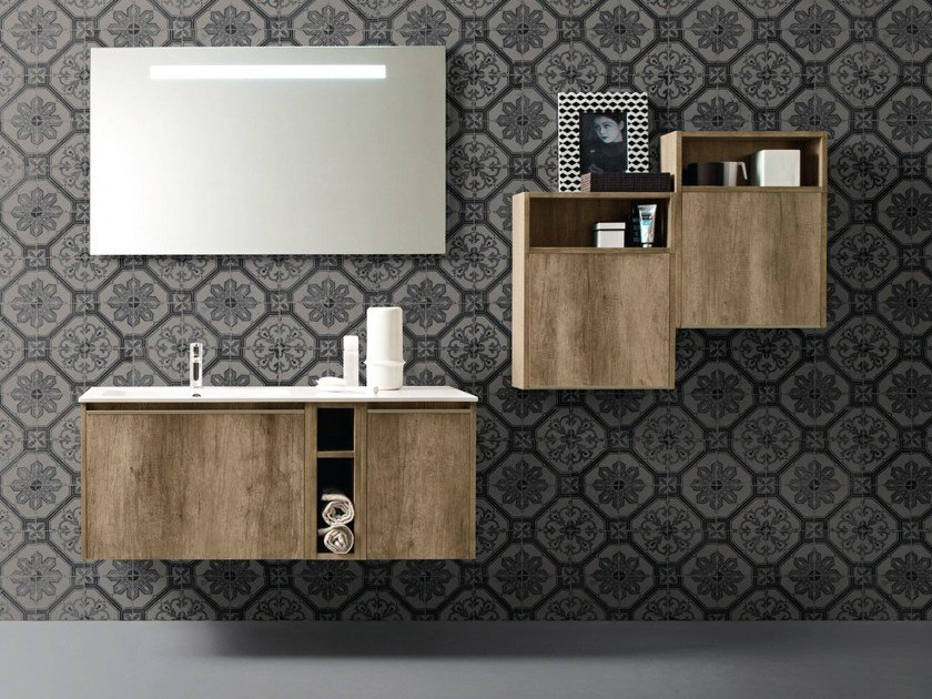 Contemporary style single wood-product vanity unit with drawers with mirror MOVIDA 18 by Cerasa