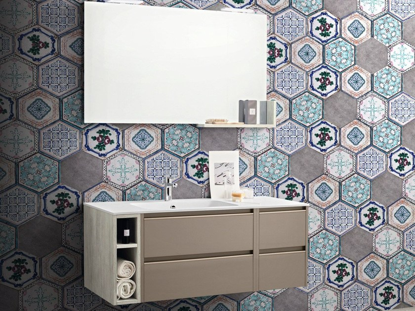 Single wall-mounted vanity unit with drawers MOVIDA 38 by Cerasa