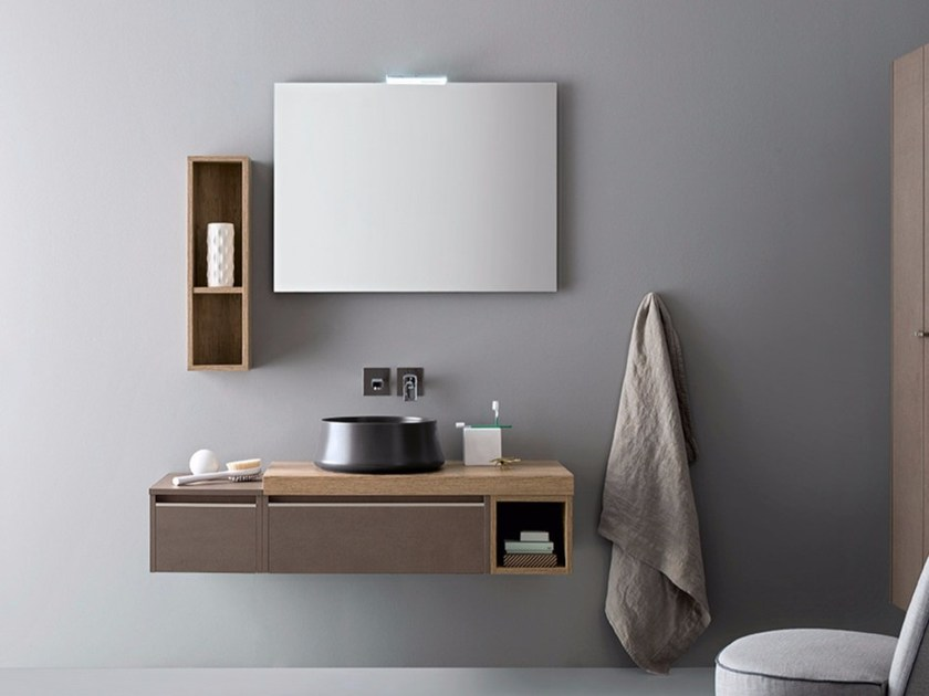 Contemporary style single wood-product vanity unit with drawers with mirror MOVIDA 8 by Cerasa