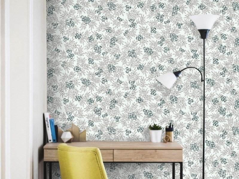 Non-woven paper wallpaper with floral pattern MUGUETS by Isidore Leroy