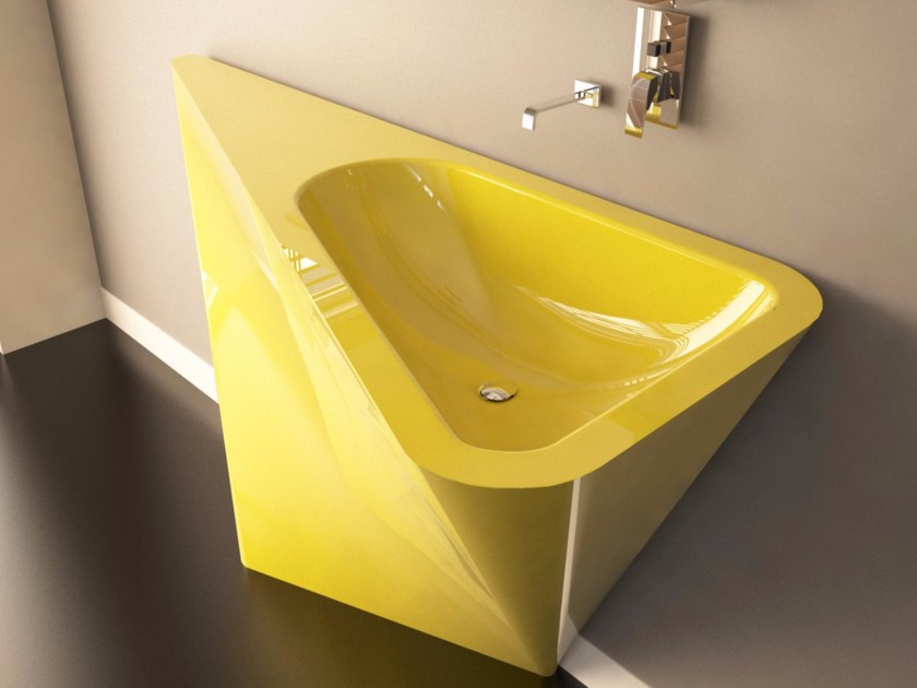 Freestanding Adamantx® washbasin with integrated countertop MULLET by ZAD ITALY