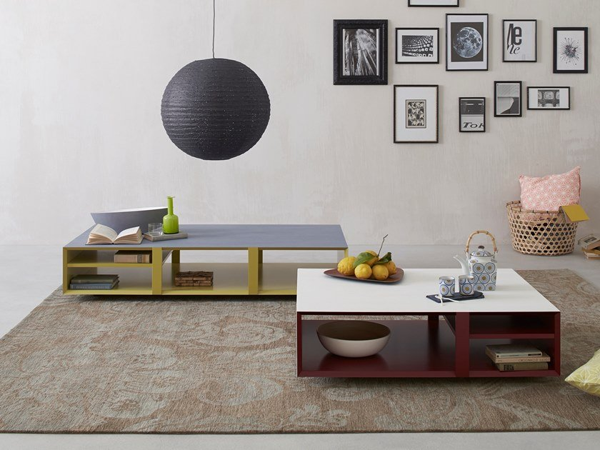 Lacquered coffee table with integrated magazine rack MULTIBOX | Coffee table by Capo d'Opera