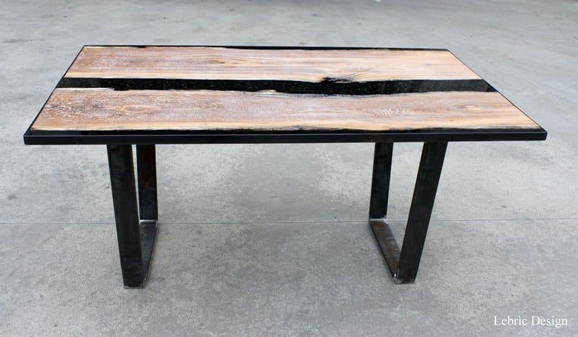 Tavolino quadrato in Briccola Veneziana e resina BLACK by ANTICO TRENTINO