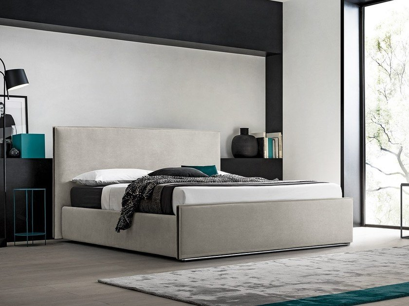 Fabric storage bed with upholstered headboard MURPHY by Felis