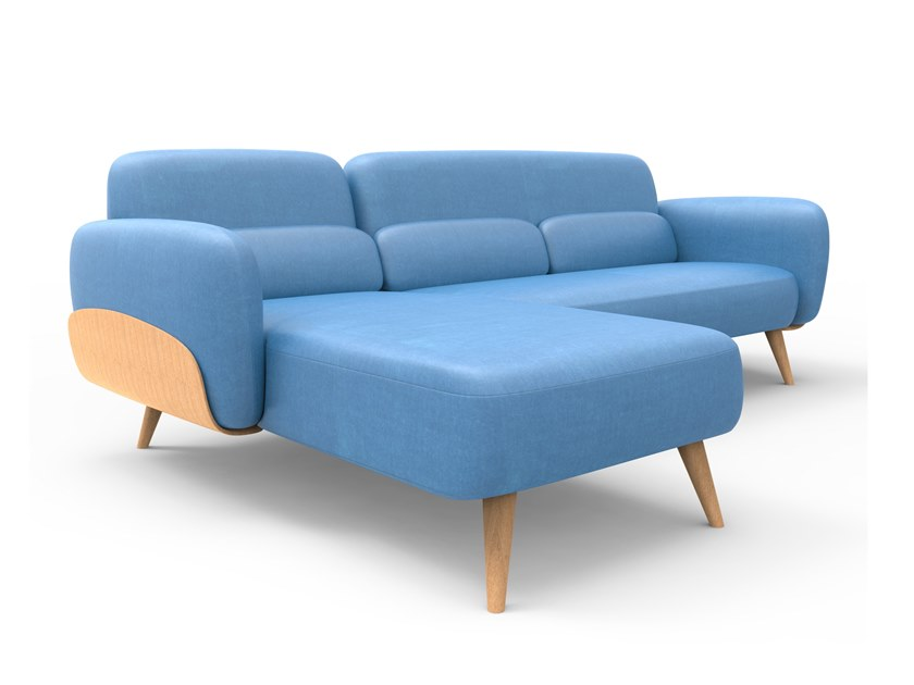Fabric sofa with chaise longue MUSIKA by meeloa