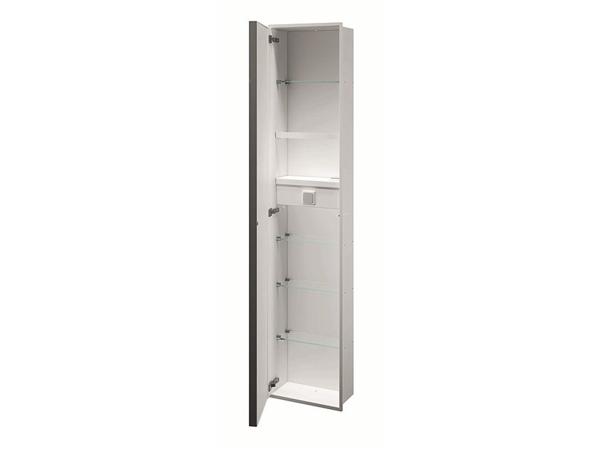 Modul with glass shelves, hairdryer holder, pivot door MY SECRET | Bathroom cabinet with doors by INDA®