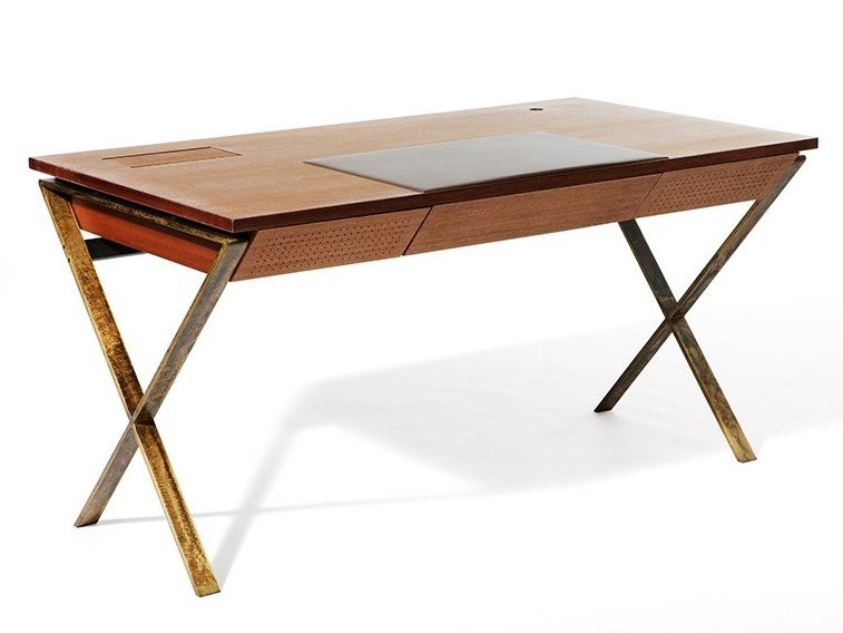 Wood veneer writing desk with drawers MY TOY by Paolo Castelli