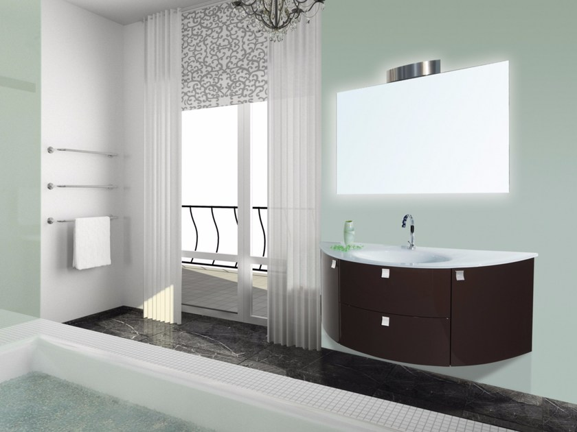 Lacquered wall-mounted vanity unit with mirror MYKONOS CM01MY by LA BUSSOLA