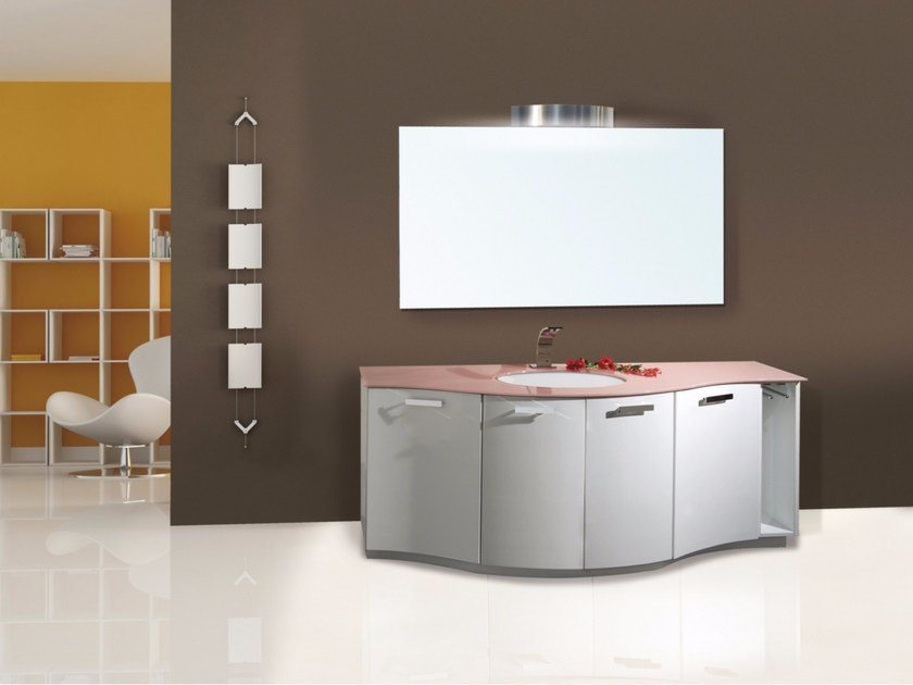 Lacquered vanity unit with doors with mirror MYKONOS CM02MY by LA BUSSOLA
