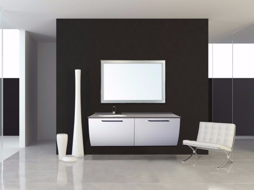 Lacquered wall-mounted vanity unit with drawers MYKONOS CM05MY by LA BUSSOLA