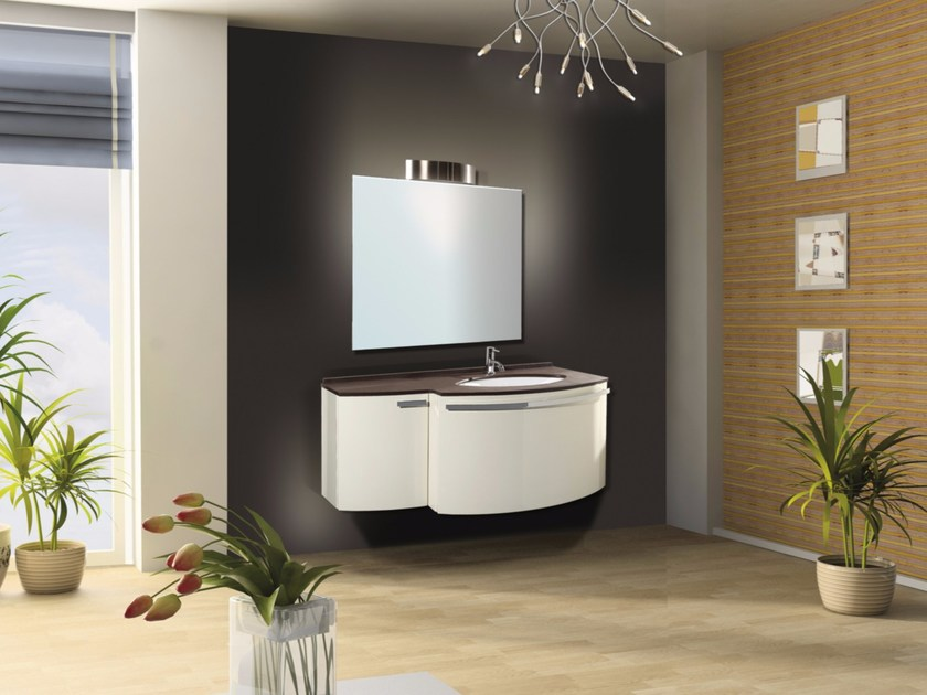 Wall-mounted vanity unit with drawers with mirror MYKONOS CM06MY by LA BUSSOLA