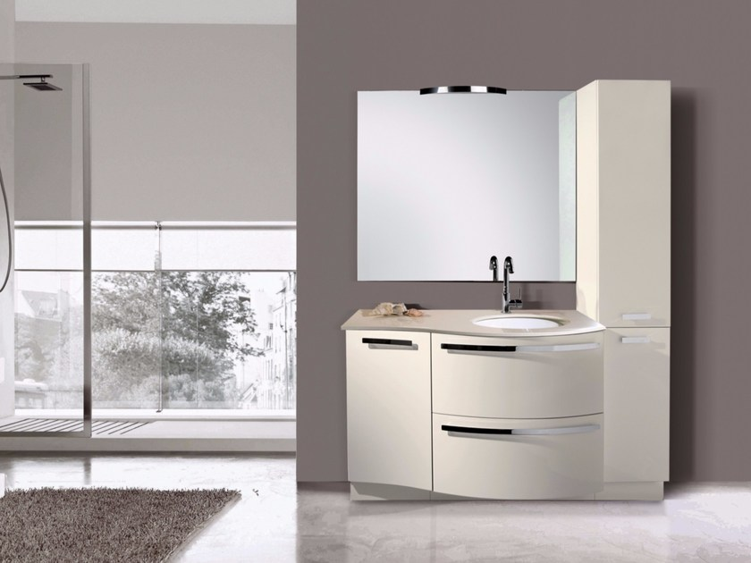 Lacquered single vanity unit with mirror MYKONOS CM07MY by LA BUSSOLA