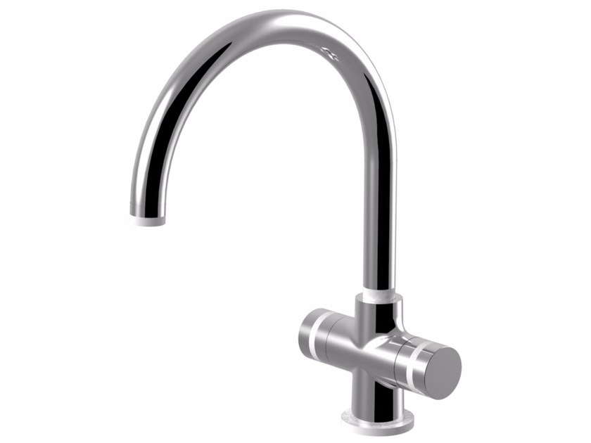 Contemporary style chrome-plated countertop kitchen tap with swivel spout MYRING | 1 hole kitchen tap by Rubinetteria Giulini