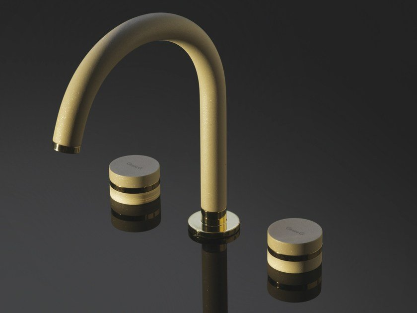 3 hole countertop painted-finish washbasin tap MYRING BEIGE GOLD - FMR0112A by Rubinetteria Giulini