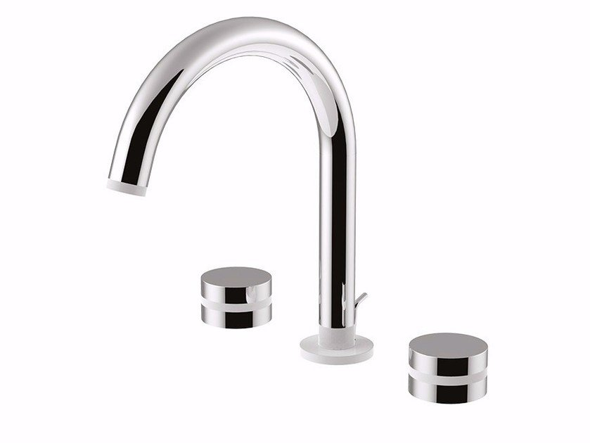 3 hole countertop washbasin tap with adjustable spout MYRING - FMR0112A by Rubinetteria Giulini