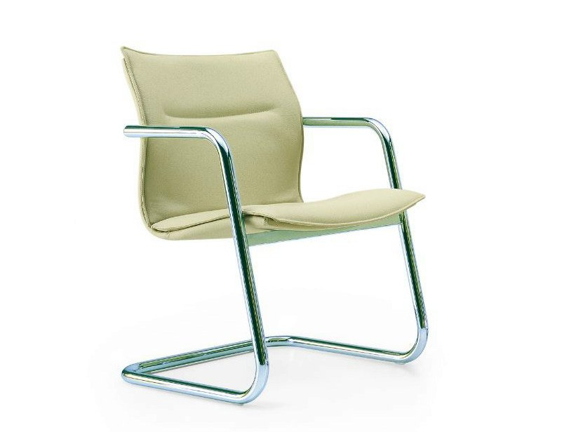 Cantilever leather chair with armrests MAYBE | Cantilever chair by Quinti Sedute