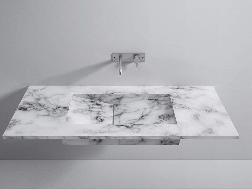 Rectangular marble washbasin with integrated countertop Marble Top by Rexa Design