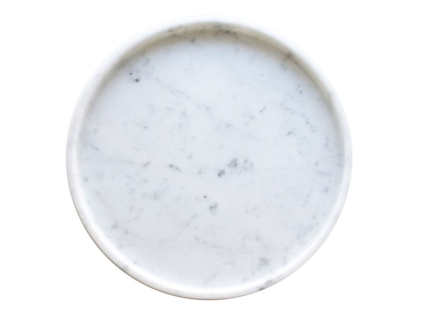 Round Carrara marble tray Marble round tray by Evie Group