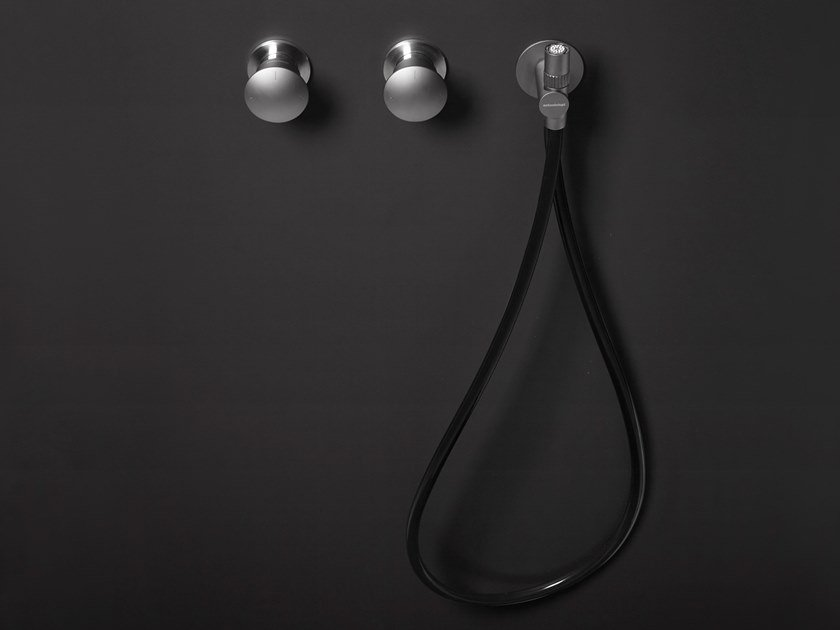 Brushed steel shower mixer with hand shower MiniMayDay by Antonio Lupi Design