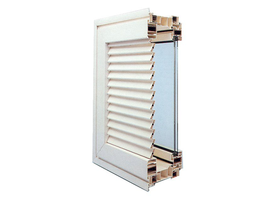 With built-in panel shutters PVC window Monobloc with shutter by Ital-Plastick