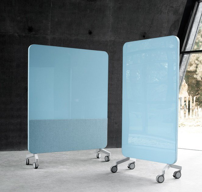 Mobile glass writing board with sound absorbent materials Mood Fabric Mobile by Lintex