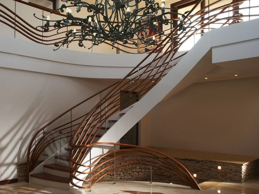 L-shaped solid wood Open staircase MOSCOW by Siller Treppen