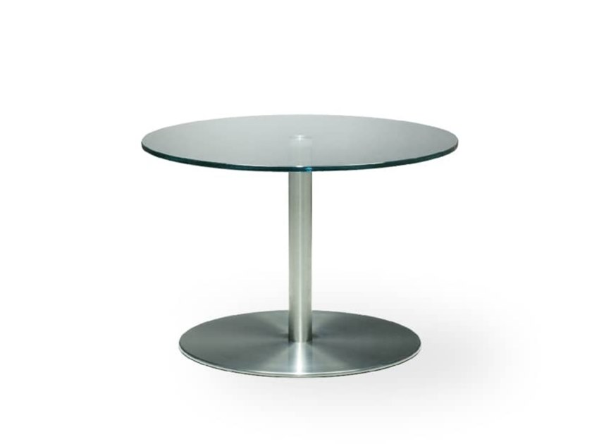 N T Coffee Table By Rossin Design, Round Glass And Stainless Steel Coffee Table