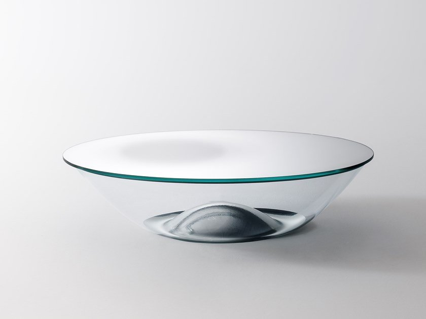 Oval crystal coffee table NACRE by Glas Italia