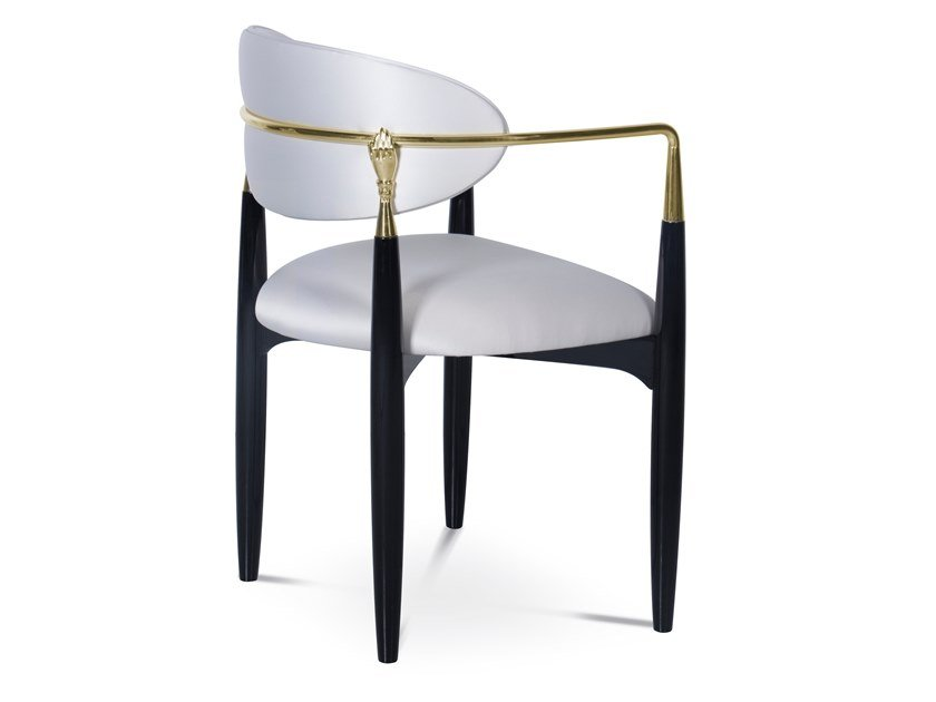 Lacquered fabric chair with armrests NAHEMA | Fabric chair by KOKET