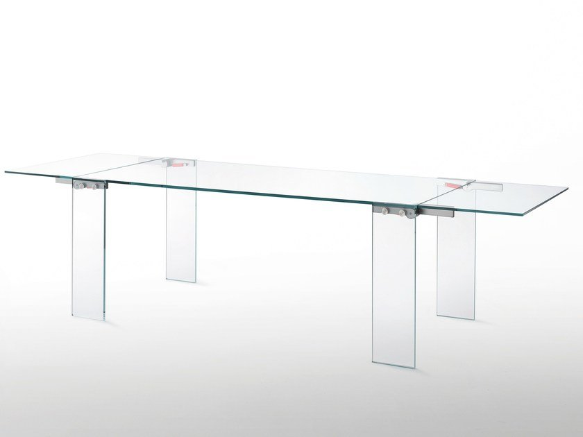 Extending rectangular crystal table NAKED by Glas Italia