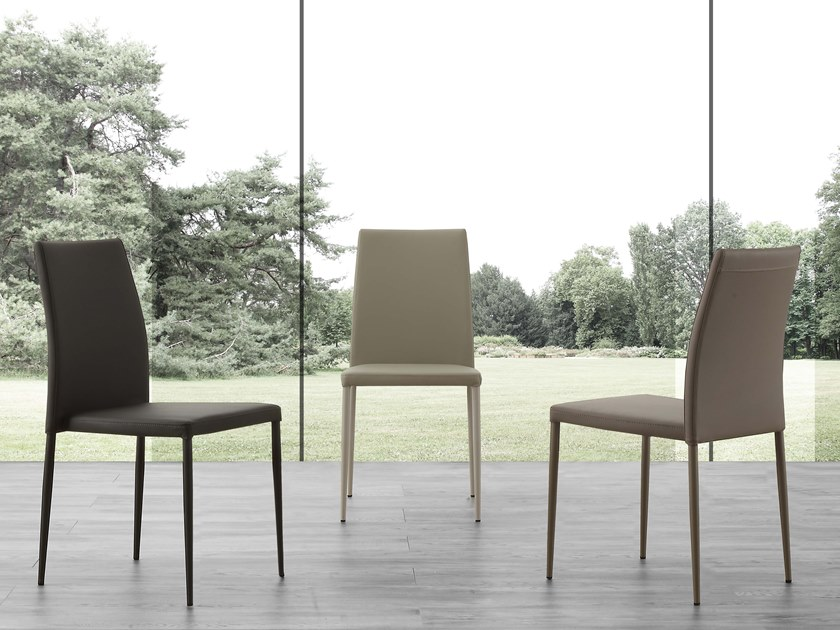 Stackable Eco-leather restaurant chair NAKED by La seggiola