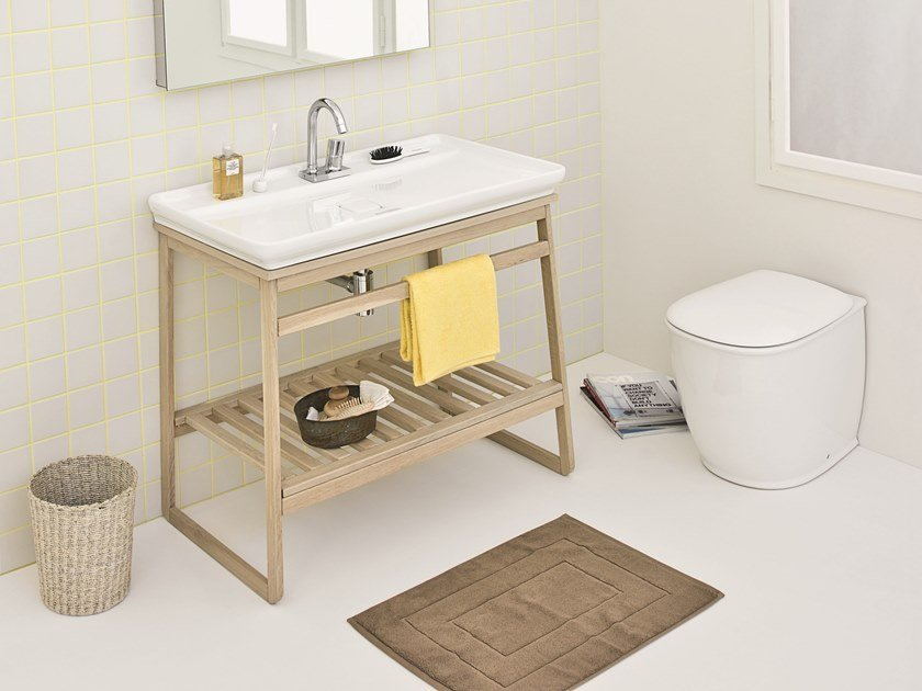 Countertop rectangular ceramic washbasin NAKED SYSTEM by Artceram