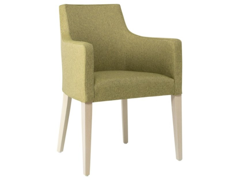 Fabric chair with armrests and wooden base NANCY PO01 BASE 10 by New Life