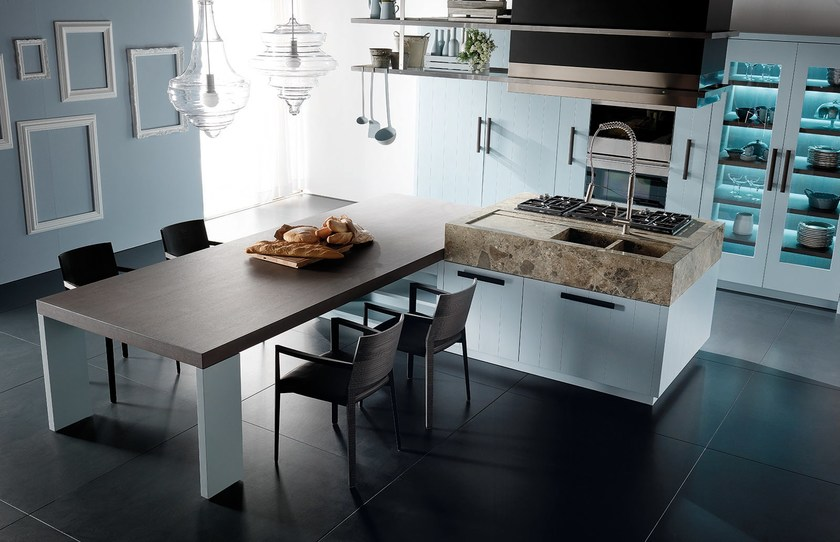 Toncelli Cucine. Simple Marble Kitchen With Island Wind Leather And ...