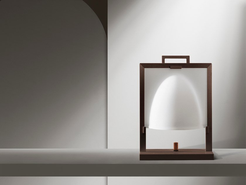 Wood and glass table lamp NAO by GIORGETTI
