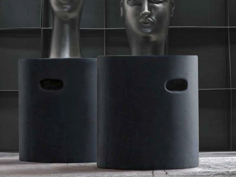 Low porcelain stoneware stool NAPPE by Adriani e Rossi edizioni