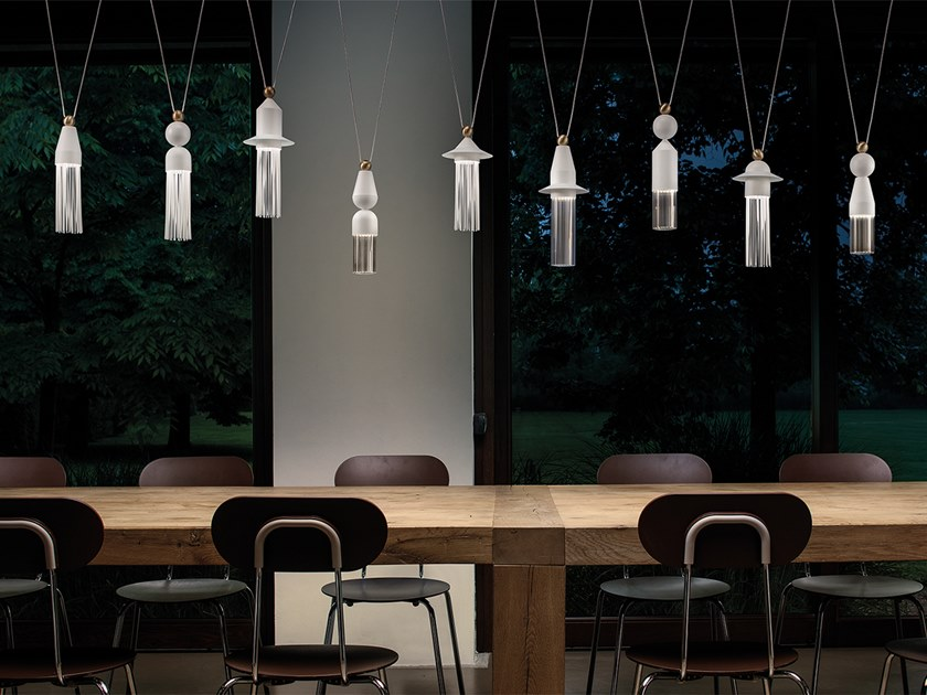 LED painted metal pendant lamp NAPPE C10 by Masiero
