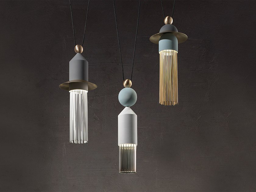 LED painted metal pendant lamp NAPPE C3 by Masiero