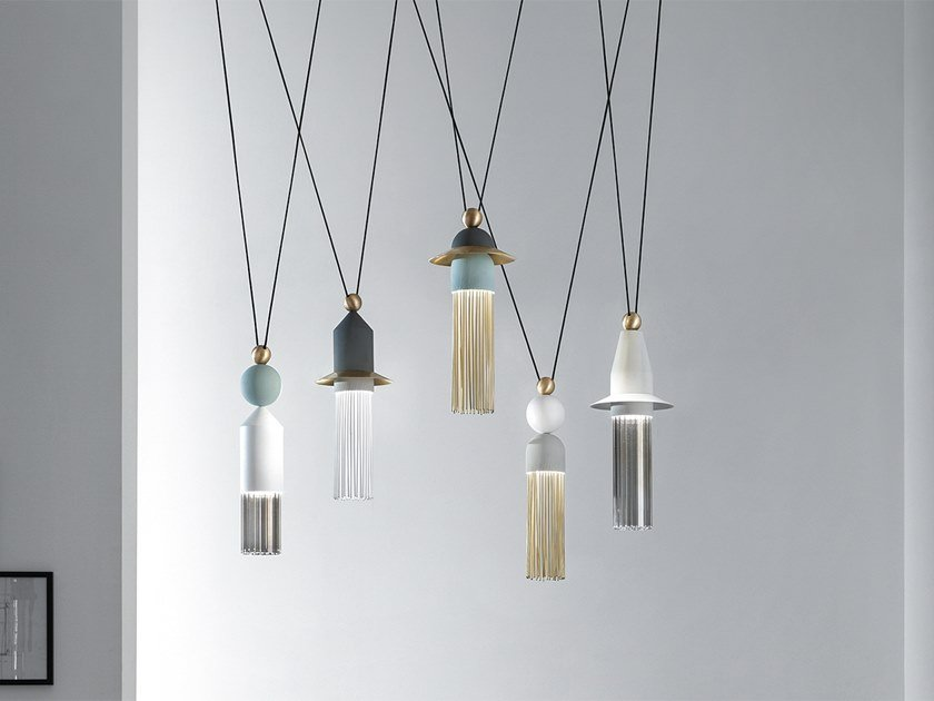 LED painted metal pendant lamp NAPPE C5 by Masiero
