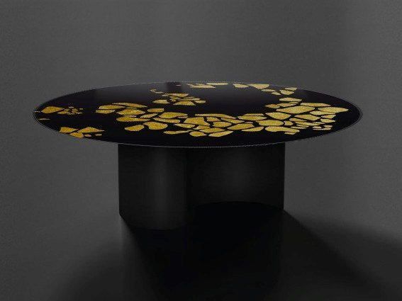 Round glass and steel table NASTRI | Round table by Unica by Tecnotelai